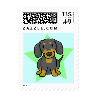 Kawaii Star Dachshund Postage Stamps (Black & Tan)