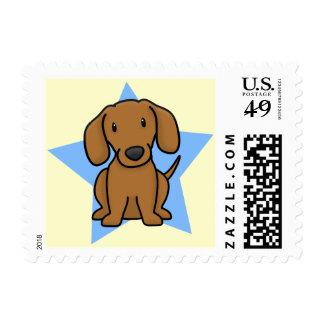 Kawaii Star Dachshund Postage Stamps (Red)