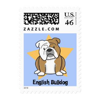 Kawaii Star English Bulldog Postage Stamps