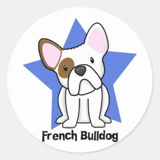 Kawaii Star French Bulldog Classic Round Sticker