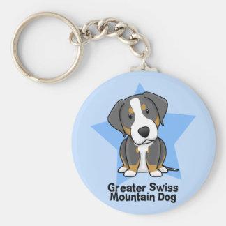 Kawaii Star Greater Swiss Mountain Dog Basic Round Button Keychain