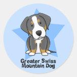 Kawaii Star Greater Swiss Mountain Dog Round Stickers