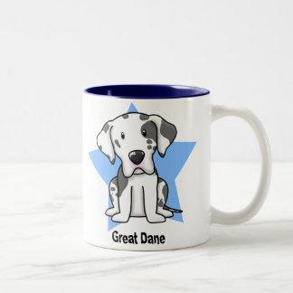 Kawaii Star Harlequin Great Dane Two-Tone Coffee Mug
