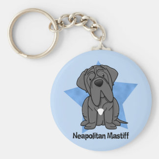 Kawaii Star Neapolitan Mastiff Basic Round Button Keychain