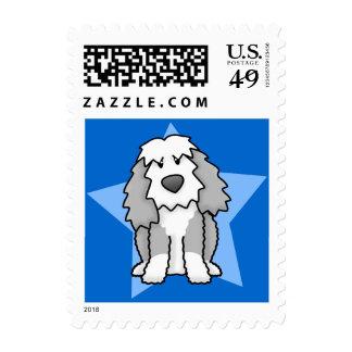 Kawaii Star Old English Sheepdog Postage Stamps