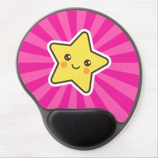 Kawaii star on hot pink sunburst background gel mouse pad