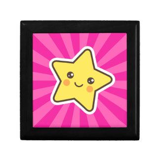 Kawaii star on hot pink sunburst background gift box