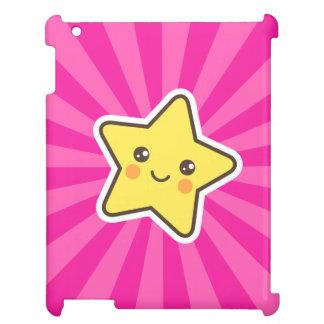 Kawaii star on hot pink sunburst background iPad case