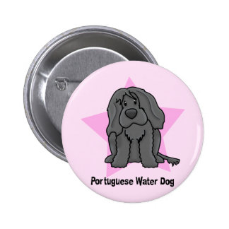 Kawaii Star Portuguese Water Dog Pinback Buttons