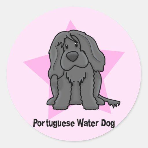 Kawaii Star Portuguese Water Dog Classic Round Sticker