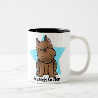 Kawaii Star Red Cropped Brussels Griffon Two-Tone Coffee Mug