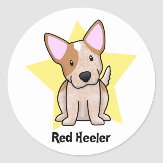 Kawaii Star Red Heeler Classic Round Sticker