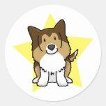 Kawaii Star Sheltie Classic Round Sticker