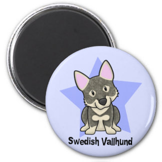 Kawaii Star Swedish Vallhund 2 Inch Round Magnet