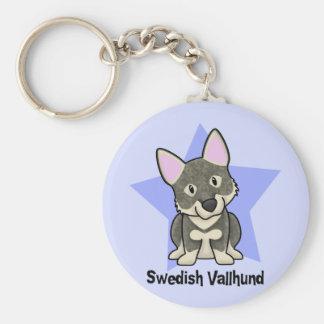 Kawaii Star Swedish Vallhund Basic Round Button Keychain