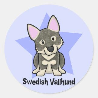 Kawaii Star Swedish Vallhund Classic Round Sticker