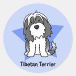 Kawaii Star Tibetan Terrier Round Stickers
