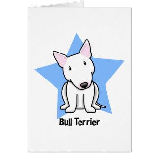 Kawaii Star White Bull Terrier Greeting Card