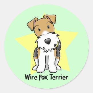 Kawaii Star Wire Fox Terrier Classic Round Sticker