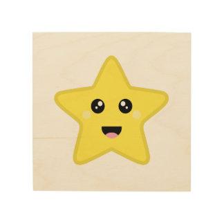 Kawaii Star Wood Print