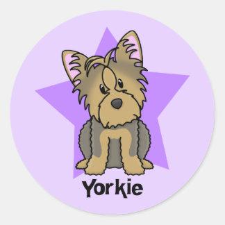 Kawaii Star Yorkshire Terrier Classic Round Sticker