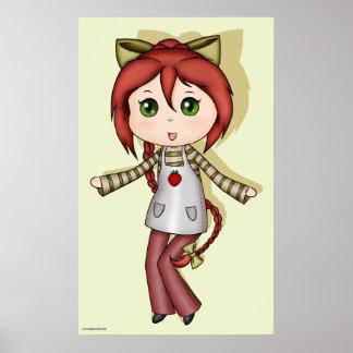 Kawaii Strawberry Chibi Poster Print