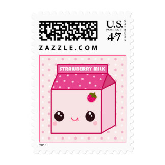 Kawaii strawberry milk carton postage