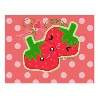 Kawaii Strawberry Postcard