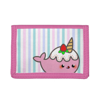 Kawaii Strawberry Shortcake Narwhal Trifold Wallet