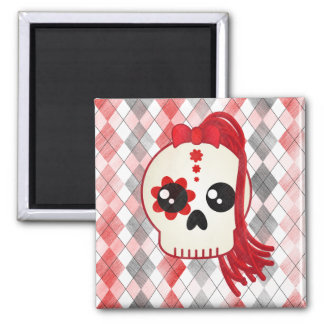 Kawaii Style Cyberpunk Emo Skull on Red Argyle 2 Inch Square Magnet