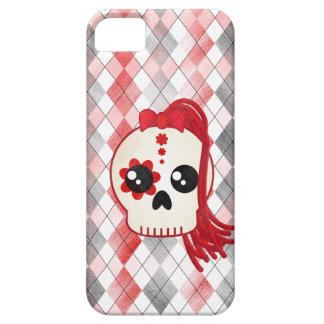 Kawaii Style Cyberpunk Emo Skull on Red Argyle iPhone 5 Covers