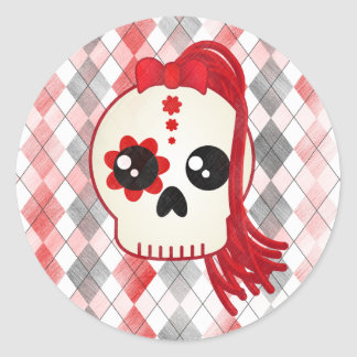 Kawaii Style Cyberpunk Emo Skull on Red Argyle Classic Round Sticker
