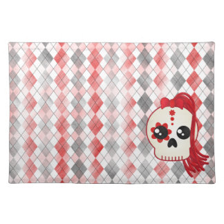 Kawaii Style Cyberpunk Emo Skull on Red Argyle Cloth Placemat
