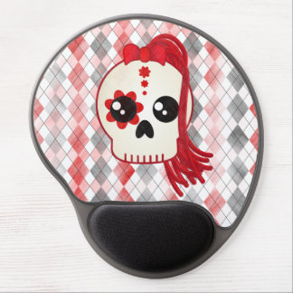 Kawaii Style Cyberpunk Emo Skull on Red Argyle Gel Mouse Pad