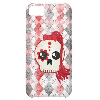 Kawaii Style Cyberpunk Emo Skull on Red Argyle iPhone 5C Covers