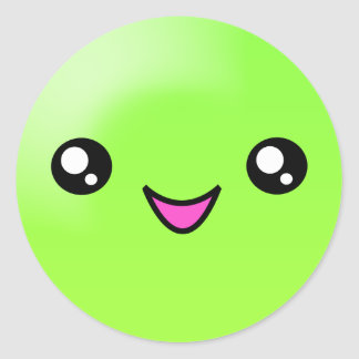 Kawaii Sugar Dots Lime Happy Face Sticker