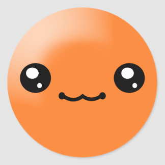 Kawaii Sugar Dots Orange Happy Face Sticker