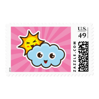 Kawaii sun and cloud characters postage stamp