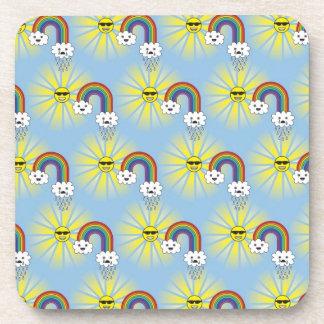 Kawaii Sun Cloud and Rainbow Pattern Beverage Coaster