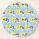 Kawaii Sun Cloud and Rainbow Pattern Coasters