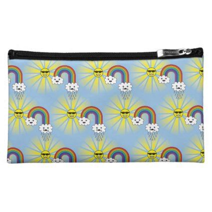 Kawaii Sun Cloud and Rainbow Pattern Cosmetic Bag