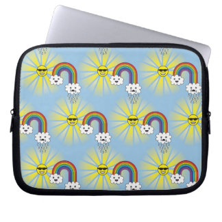 Kawaii Sun Cloud and Rainbow Pattern Laptop Sleeve