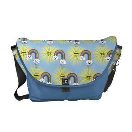 Kawaii Sun Cloud and Rainbow Pattern Messenger Bags