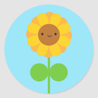 Kawaii Sunflower Classic Round Sticker