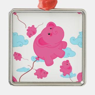 Kawaii Super Cute Flying Funny Elephant Balloon Metal Ornament