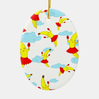 Kawaii Super Cute Flying Happy Bananas Playing Mar Ceramic Ornament