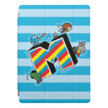 Kawaii Super Heroes on Striped M iPad Pro Cover