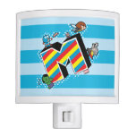 Kawaii Super Heroes on Striped M Night Light