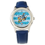 Kawaii Super Heroes on Striped M Wristwatch