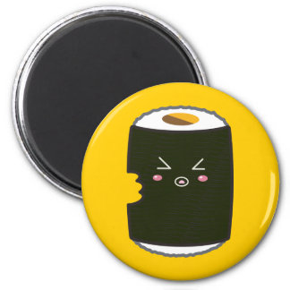 Kawaii Sushi Roll with Bitemark 2 Inch Round Magnet